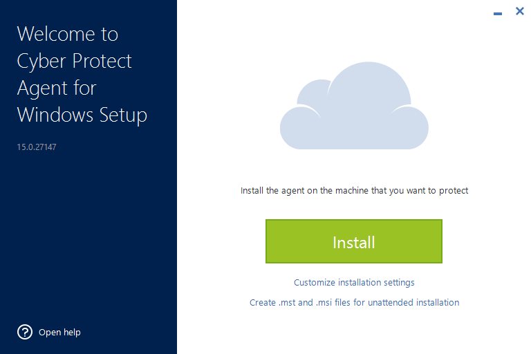 Cyber protect installation window