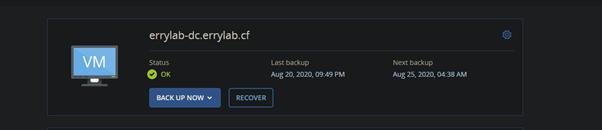 backing-up Cloud Raya Windows VM using Acronis Cyber Protect.